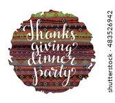 thanksgiving day card. ethnic... | Shutterstock .eps vector #483526942