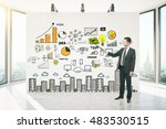 businessman  showing something... | Shutterstock . vector #483530515