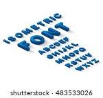 blue 3d isometric font alphabet ... | Shutterstock .eps vector #483533026