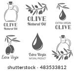 vector set of olive oil  labels | Shutterstock .eps vector #483533812