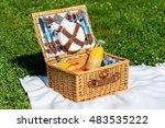 picnic basket food on white... | Shutterstock . vector #483535222