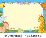 background banner with animals... | Shutterstock .eps vector #483535558