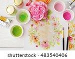 workspace. watercolor flowers...   Shutterstock . vector #483540406