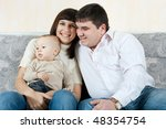 family at home   father  mother ... | Shutterstock . vector #48354754