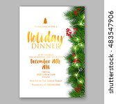 christmas party invitation with ... | Shutterstock .eps vector #483547906