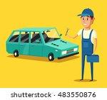 car repair. car service. vector ...   Shutterstock .eps vector #483550876