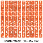 set of camping equipment icons. ... | Shutterstock .eps vector #483557452