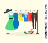 Stock vector clothes racks with women wear on hangers flat design style of girl clothes set dress shoes 483559498