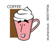 coffee cup   coffee with a... | Shutterstock .eps vector #483574936