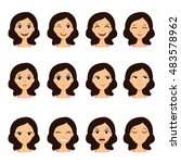 girl emotion faces cartoon... | Shutterstock .eps vector #483578962