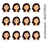 girl emotion faces cartoon... | Shutterstock .eps vector #483578962