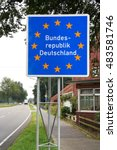 sign at the border of the... | Shutterstock . vector #483581746