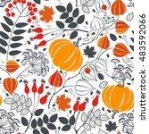 autumn seamless pattern. bright ... | Shutterstock .eps vector #483592066