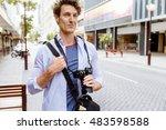 male tourist in city | Shutterstock . vector #483598588