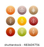 autumn leaves icons set  fall... | Shutterstock . vector #483604756