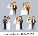 wedding couples | Shutterstock .eps vector #483605872