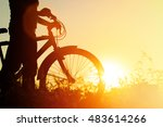 silhouette of young woman... | Shutterstock . vector #483614266