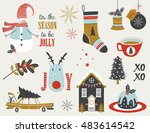 christmas set with with snowman ... | Shutterstock .eps vector #483614542