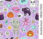 halloween quirky kawaii cartoon ... | Shutterstock .eps vector #483617032