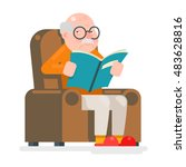 old man characters read book... | Shutterstock .eps vector #483628816