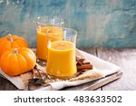 fresh pumpkin juice with... | Shutterstock . vector #483633502