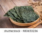 Crispy Dried Seaweed On Wooden...