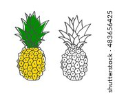 hand drawn colorful pineapple.... | Shutterstock .eps vector #483656425