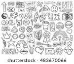patch badges set. doodle sketch ... | Shutterstock .eps vector #483670066