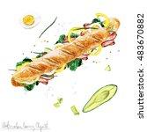 watercolor food clipart  ... | Shutterstock . vector #483670882