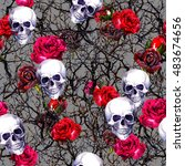 Skulls  Rose Flowers And...