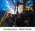 welding robots movement auto... | Shutterstock . vector #483675646