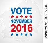 vote. election day poster. 2016 ... | Shutterstock .eps vector #483679936