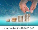 saving money concept. hand... | Shutterstock . vector #483681346