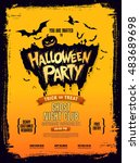 halloween party. vector... | Shutterstock .eps vector #483689698