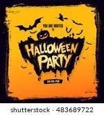 halloween party. vector... | Shutterstock .eps vector #483689722