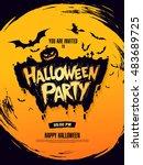 halloween party. vector... | Shutterstock .eps vector #483689725