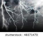 stormy clouds with lightnings | Shutterstock . vector #48371470