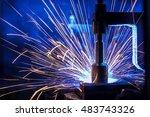 the welding robots represent... | Shutterstock . vector #483743326