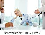 young woman falling asleep... | Shutterstock . vector #483744952
