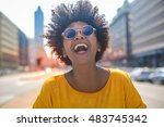 Cheerful girl laughs in the...