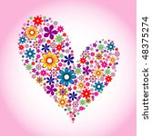 heart floral background | Shutterstock .eps vector #48375274