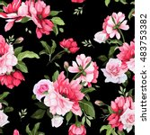 seamless floral pattern with... | Shutterstock .eps vector #483753382