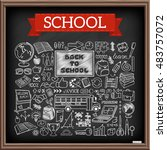 back to school doodles. graphic ... | Shutterstock .eps vector #483757072