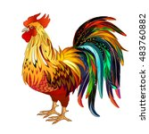 colored rooster isoleted on... | Shutterstock .eps vector #483760882