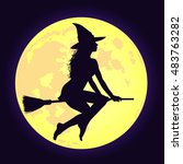 silhouette of sexy witch with... | Shutterstock .eps vector #483763282