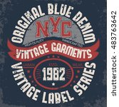 denim typography  new york t... | Shutterstock . vector #483763642