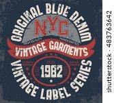denim typography  new york t... | Shutterstock . vector #483763642