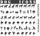 dog icon set isolated on white... | Shutterstock .eps vector #483766306