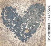 cartoon heart made of birds on... | Shutterstock .eps vector #48377203