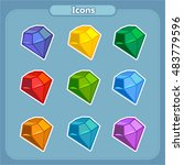 cartoon colorful gemstones for...